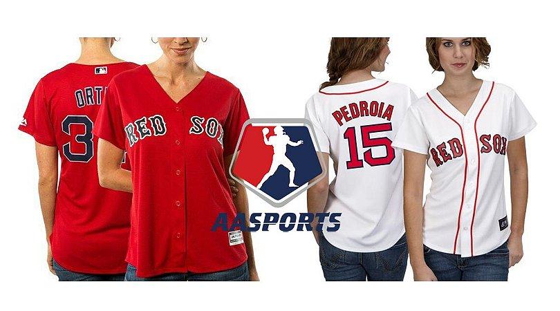 Camisa Boston Red Sox - 28 JD Martinez - 34 David Ortiz - 16 Andrew Benintendi - 15 Dustin Pedroia - 13 Hanley Ramirez - FEMININA