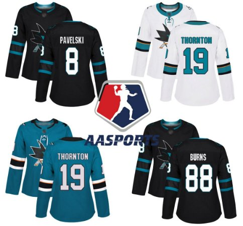 Camisa San Jose Sharks - 9 Evander Kane - 88 Brent Burns - 19 Joe Thornton - 65 Erik Karlsson - 8 Joe Pavelski - FEMININA