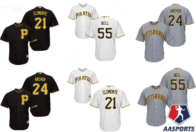 Camisa Pittsburgh Pirates - 21 Roberto Clemente - 24 Chris Archer - 55 Josh Bell - 8 Willie Stargell