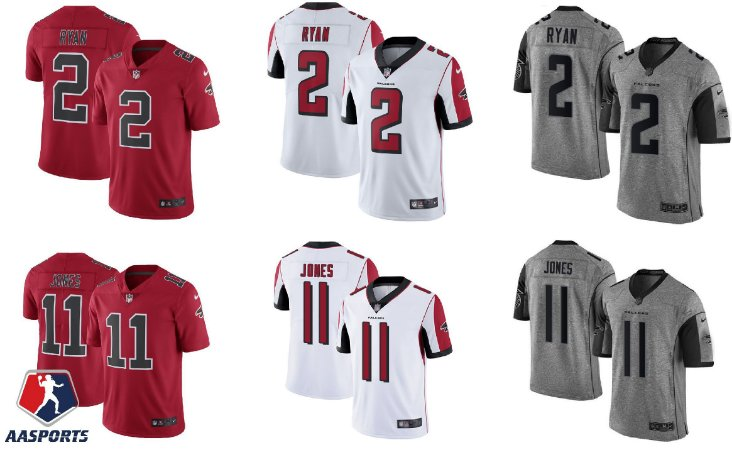 Camisa Atlanta Falcons - 2 Matt Ryan - 11 Julio Jones - 18 Calvin Ridley  - 21 Deion Sanders