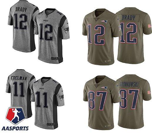 Camisa New England Patriots - 12 Tom Brady - 87 Rob Gronkowski - 11 Julian Edelman - Salute to Service - Color Rush - Gridiron Gray