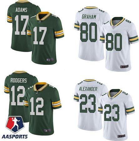 Camisa Green Bay Packers - 12 Aaron Rodgers - 17 Davante Adams - 80 Jimmy Graham - 23 Jaire Alexander - 55 Za'Darius Smith