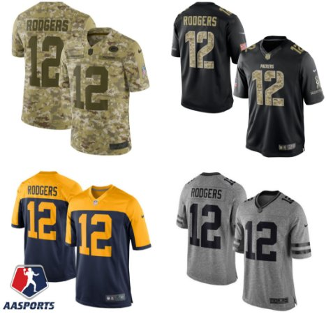 Camisa Green Bay Packers - 12 Aaron Rodgers - Salute to Service - Gridiron Gray