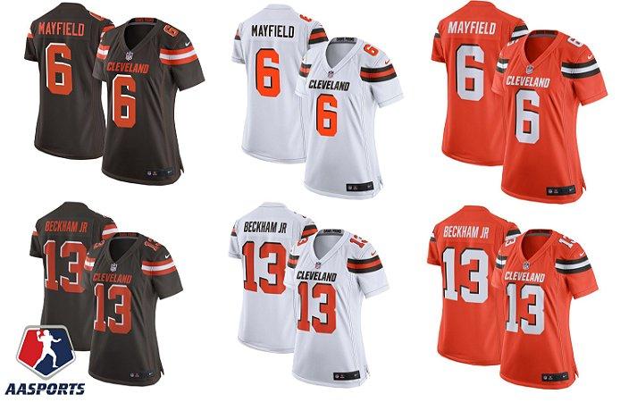 Camisa Cleveland Browns - 6 Baker Mayfield - 95 Myles Garrett - 13 Odell Beckham Jr - FEMININAS
