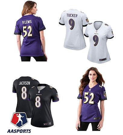 Camisa Baltimore Ravens - 9 Justin Tucker - 8 Lamar Jackson - 52 Ray Lewis - 15 Marquise Brown - FEMININAS