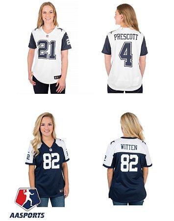 Camisa Dallas Cowboys - 4 Dak Prescott - 21 Ezekiel Elliott - 82 Jason Witten - FEMININA