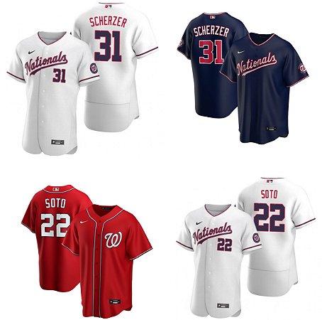 Camisa Washington Nationals -  10 Yan Gomes - 22 Juan Soto - 31 Max Scherzer