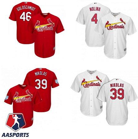 Camisa St. Louis Cardinals - 4 Yadier Molina - 39 Miles Mikolas - 46 Paul Goldschmidt