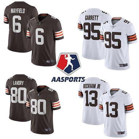 Camisa Cleveland Browns - 2020 - 6 Baker Mayfield  - 23 Joe Haden - 73 Joe Thomas - 95 Myles Garrett - 13 Odell Beckham Jr - 80 Jarvis Landry