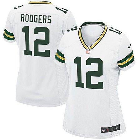 Camisa Green Bay Packers - 12 Aaron Rodgers - Feminina - Pronta entrega