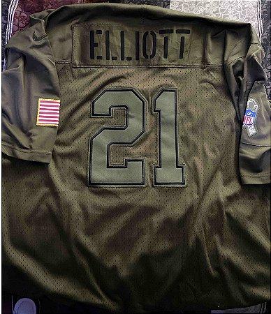 Camisa Dallas Cowboys - 4 Dak Prescott - 21 Ezekiel Elliott - 55 Leighton Vander Esch - Salute to Service