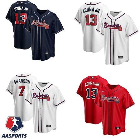 Camisa Atlanta Braves - 7 Dansby Swanson - 13 Ronald Acuna Jr