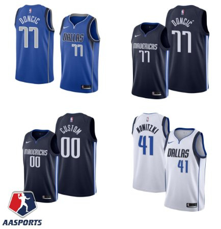 Camisa Dallas Mavericks - 41 Dirk Nowitzki - 77 Luka Doncic