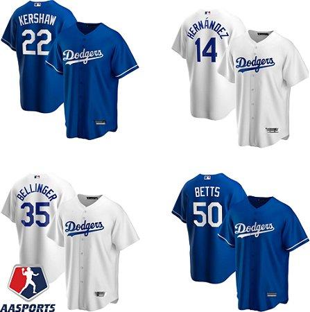 Camisa - Los Angeles Dodgers - 22 Clayton Kershaw - 50 Mookie Betts - 35 Cody Bellinger - 14 Enrique Hernandez