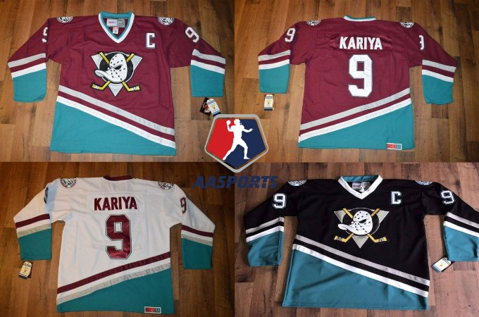Camisa Anaheim Mighty Ducks - 8 Teemu Selanne - 9 Paul Kariya - 15 Ryan Getzlaf