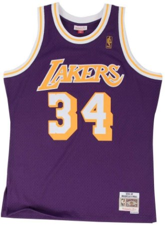 Camisa Los Angeles Lakers - 34 Shaquille O'Neal - Mitchell & Ness
