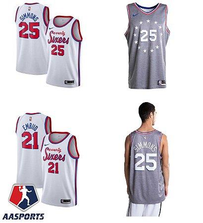 Camisa Philadelphia 76ers - 21 Joel Embiid - 20 Markelle Fultz - 25 Ben Simmons - escolha qualquer jogador do time