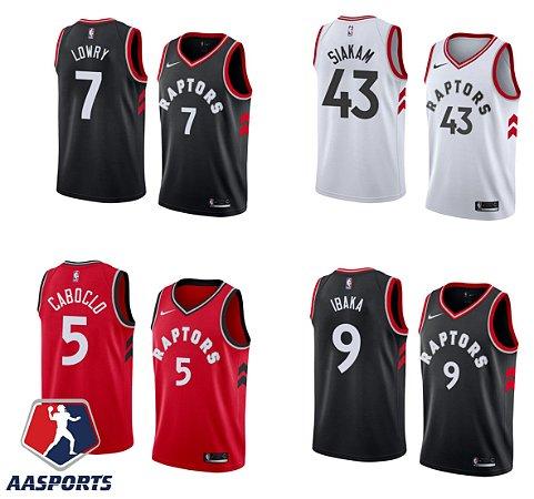 Camisa Toronto Raptors - 2 Kawhi Leonard - 7 Kyle Lowry - 43 Pascal Siakam - 9 Serge Ibaka - escolha qualquer jogador do time