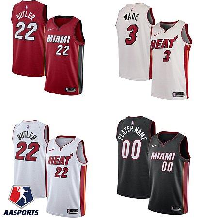 Camisa Miami Heat- 3 Dwyane Wade - 22 Jimmy Butler - escolha qualquer jogador do time