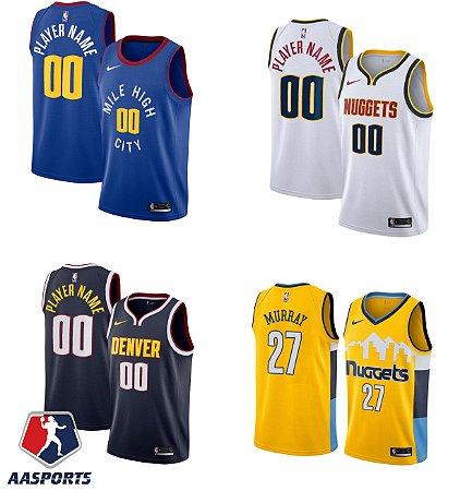 Camisa Denver Nuggets - 15 Nikola Jokic - 55 Dikembe Mutombo -  escolha qualquer jogador do time