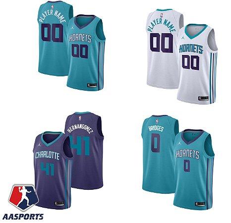 Camisa Charlotte Hornets - 41 Willy Hernangomez - 0 Miles Bridges -  escolha qualquer jogador do time