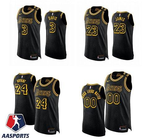 Camisa - Los Angeles Lakers - Black Mamba - Authentic Jersey - 23 LeBron James - personalizada