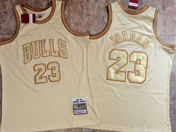 Camisa Chicago Bulls - Mitchell & Ness dourada - 23 Michael Jordan