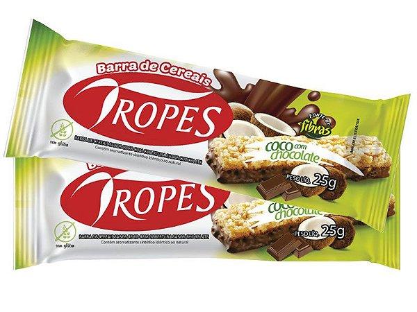 BARRA DE CEREAIS COCO COM CHOCOLATE AO LEITE 25G - TROPES  - CAIXA COM 24 UNIDADES