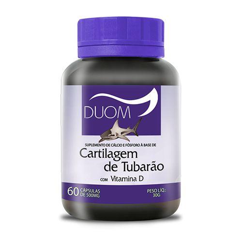 CARTILAGEM DE TUBARÃO COM VIT D 60 CÁPSULAS 500MG DUOM