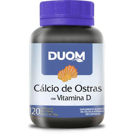 CÁLCIO DE OSTRAS COM VITAMINA D 750MG 120 CÁPSULAS DUOM