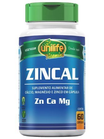 ZINCAL (ZINCO, CÁLCIO E MAGNÉSIO) 60 CÁPSULAS UNILIFE