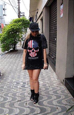 T-shirt Unissex Caveira EUA