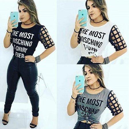 T-shirt Feminina Mangas Vazadas