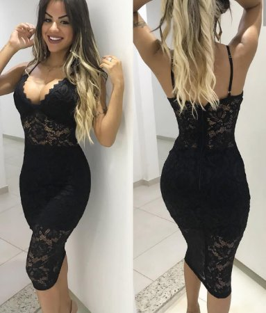 Dress Midi Renda com Bojo