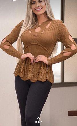 Blusa Tricot, modelo cintura peplum, Moda Atacado