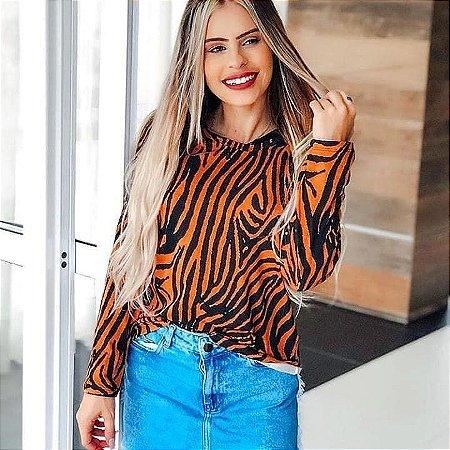 Blusa em viscolycra estampa Tigresa