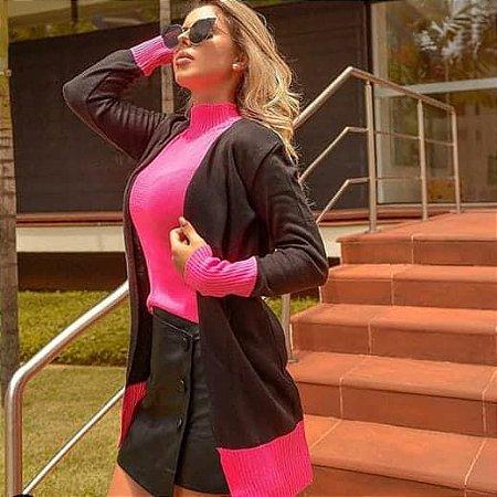Casaco Comprido faixa na barra + Blusa gola rolê em tricot, Moda Outono Inverno 2019