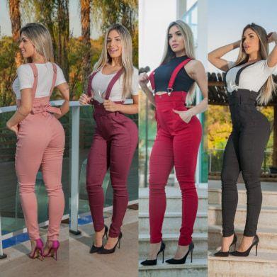 Calça Modelo  Cós Alto com suspensório Feminino.