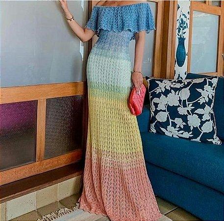 Vestido Longo em Tricot Colors, Modelo ciganinha