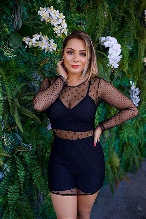 Conjunto 3 Peças, Top com Bojo, Sorts Mais Mini veste Em Tule transparente Trabalhado, Vendas  Moda Feminina