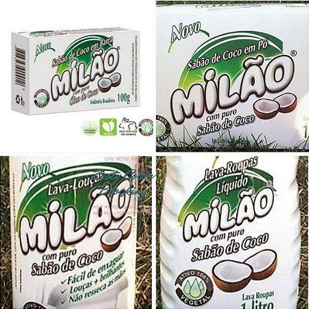 Kit Milão Completo (01 Sabão em Pó 1kg, 01 Lava Roupas Líquido 1L., 01 Lava Louças Líquido 500ml, 01 Sabão Barra 100g.)