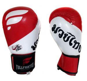 Luva Thai Style Pro Couro Legitimo Premium Vermelha e Branca - Fullfighter