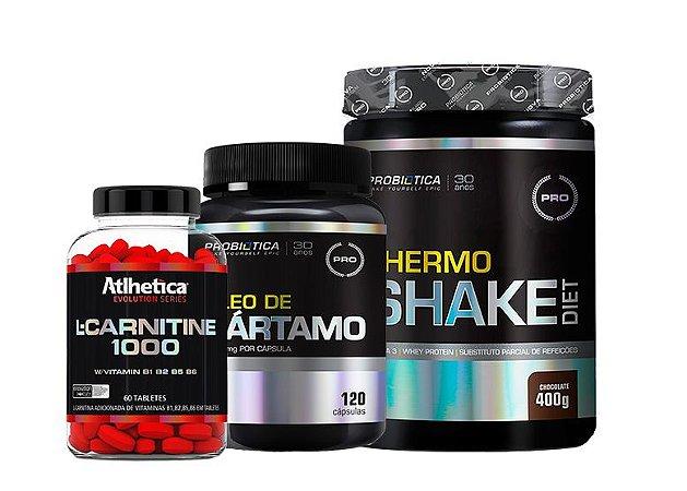 Kit L- Carnitine 1000 60 caps  + Thermo Shake Diet 400g + Óleo de Cártamo 120 caps