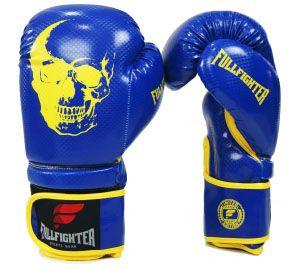 Luva Muay Thai Carbon Azul com Amarelo Skull- Full Fighter