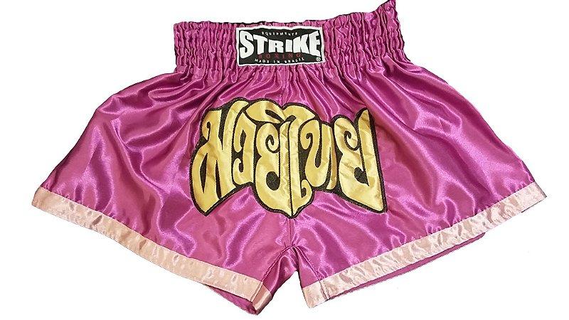 Short de Muay Thai Roxo com Rosa - Strike