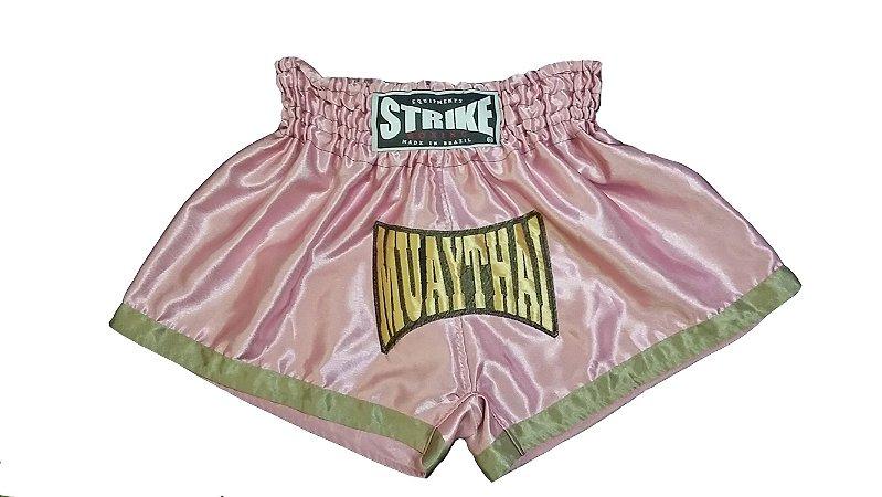 Short de Muay Thai Rosa com Dourado  - Strike