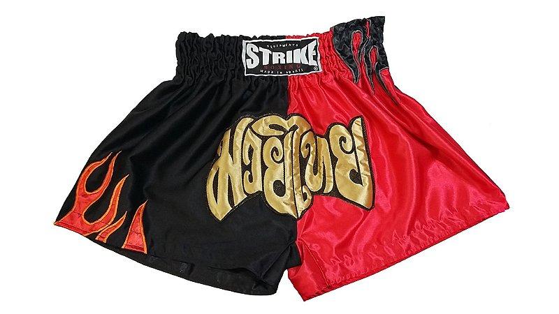 Short Muay Thai Preto e vermelho - Strike