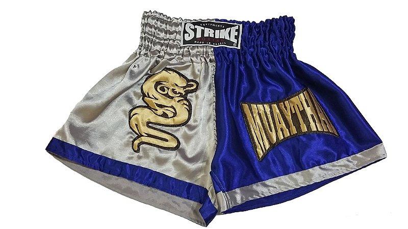 Short Muay Thai Azul com Cinza - Strike
