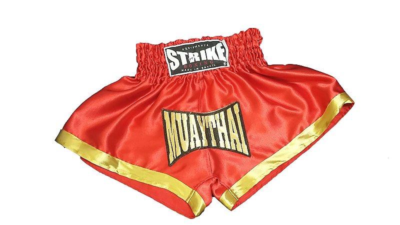 Short Muay Thai Infantil Vermelho com Dourado  - Strike