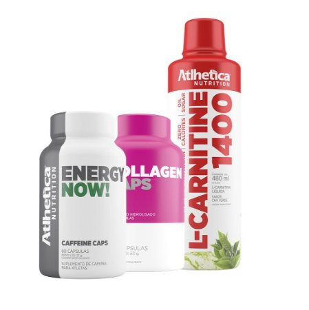 Kit emagrecimento L-Carnitine 1400 480ml + Collagen 120 caps+ Energy Now 60 caps - Atlhetica